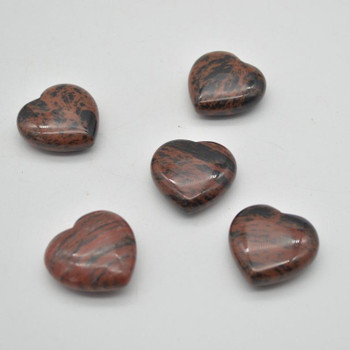 Natural Mahogany Obsidian Gemstone Heart - 1 count - 3cm - 14 grams