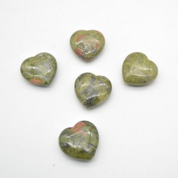 Natural Dragon Blood Jasper Gemstone Heart - 1 count - 3cm - 18 grams