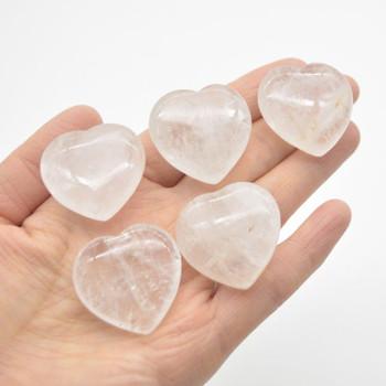 Natural Clear Quartz Gemstone Heart - 1 count - 3cm - 15 grams