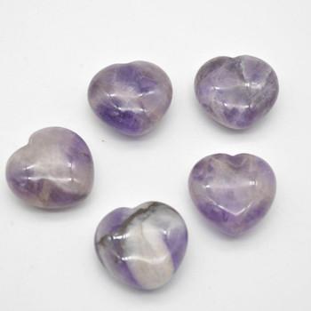 Natural Amethyst Gemstone Heart - 1 count - 3cm - 18 grams