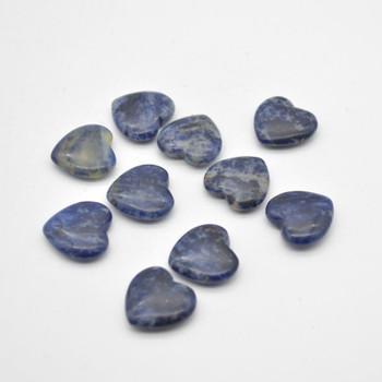 Natural Sodalite Gemstone Heart - 1 count - 2cm - 3.5 grams