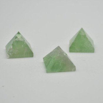 Natural Green Fluorite Gemstone Pyramid - 1 Count - 3cm x 3cm