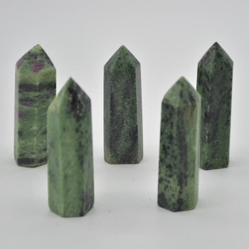 Natural Ruby Zoisite Gemstone Point / Tower / Wand  - 1 Count - 6cm - 7cm