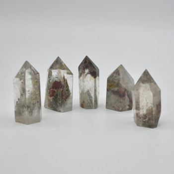 Natural Green Phantom Quartz Gemstone Point / Tower / Wand  - 1 Count - 4cm - 5cm