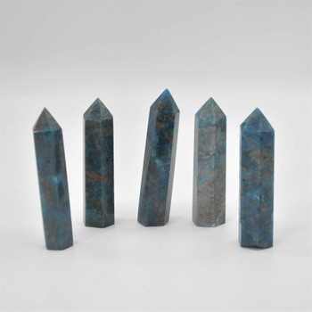 Natural Blue Apatite Gemstone Point / Tower / Wand  - 1 Count - 9cm - 10cm