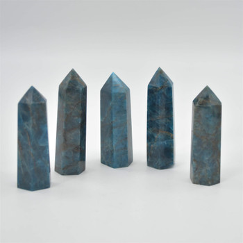 Natural Blue Apatite Gemstone Point / Tower / Wand  - 1 Count - 7cm - 8cm