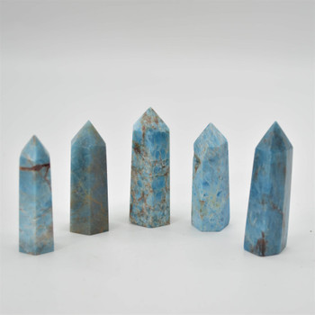 Natural Blue Apatite Gemstone Point / Tower / Wand  - 1 Count - 6cm - 7cm