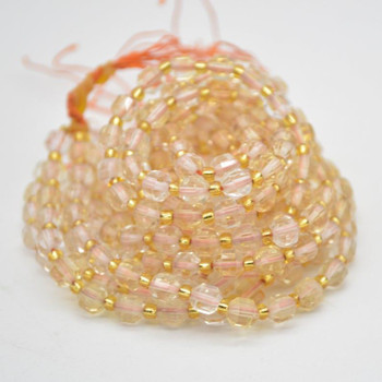"""Grade A Natural Citrine Semi-precious Gemstone Double Tip FACETED Round Beads - 5mm x 6mm - 15.5"""" strand"""
