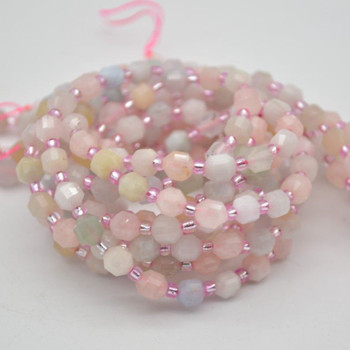 """Grade A Natural Morganite / Beryl Semi-precious Gemstone Double Tip FACETED Round Beads - 5mm x 6mm - 15.5"""" strand"""