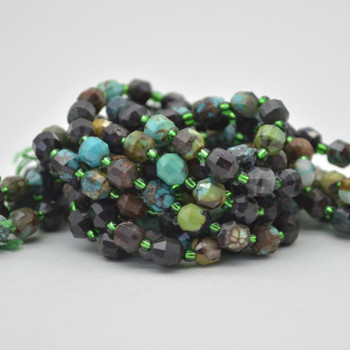 """Grade A Natural Chrysocolla Semi-precious Gemstone Double Tip FACETED Round Beads - 5mm x 6mm - 15.5"""" strand"""