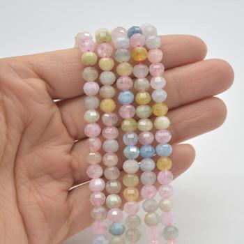 "High Quality Grade A Natural Morganite / Beryl Semi-precious Gemstone FACETED Lantern style Round Beads - 6mm - 15.5"" strand"