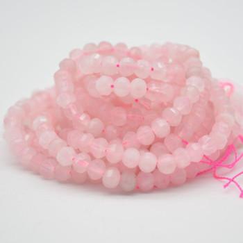 "High Quality Grade A Natural Rose Quartz Semi-precious Gemstone FACETED Lantern style Round Beads - 6mm - 15.5"" strand"