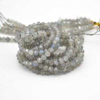 "High Quality Grade A Natural Labradorite Semi-precious Gemstone FACETED Lantern style Round Beads - 4mm - 15.5"" strand"