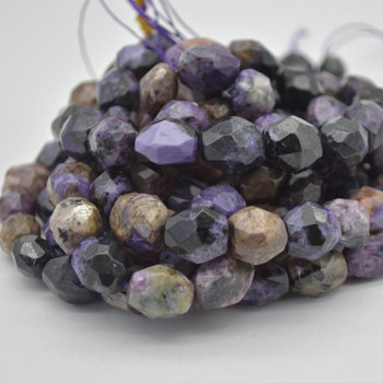 """High Quality Grade A Natural Charoite Semi-precious Gemstone Faceted Baroque Nugget Beads - 16mm - 18mm x 13mm - 15mm - 15.5"""" strand"""