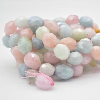 "High Quality Grade A Natural Morganite/Beryl Semi-precious Gemstone Faceted Baroque Nugget Beads - 16mm - 18mm x 13mm - 15mm - 15.5"" strand"