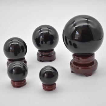 Natural Black Obsidian Semi-precious Gemstone Sphere Ball  - 1 Count - 3.5cm, 4cm, 5cm, 6cm, 8cm sizes
