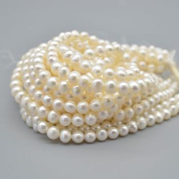 "High Quality Grade B Natural Freshwater Potato Round Pearl Beads - White - 6mm - 7mm - 15.5"" strand"
