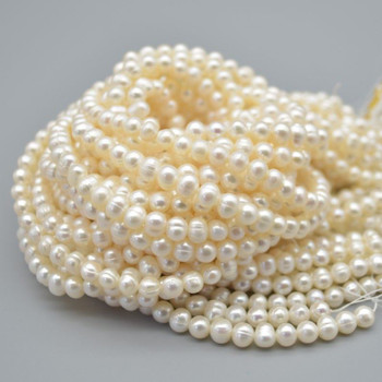 "High Quality Grade B Natural Freshwater Potato Round Pearl Beads - White - 5mm - 6mm - 15.5"" strand"
