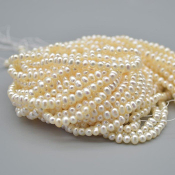 """High Quality Grade A Natural Freshwater Potato Round Pearl Beads - White - 3mm - 3.5mm - 15.5"""" strand"""