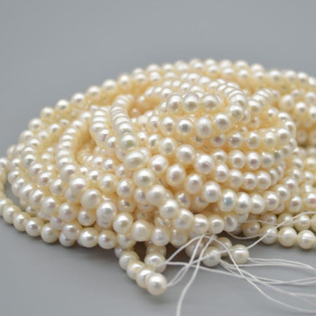 """High Quality Grade A Natural Freshwater Potato Round Pearl Beads - White - 5.5mm - 6mm - 15.5"""" strand"""