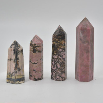 Natural Rhodonite Semi-precious Gemstone Point / Tower / Wand  - 1 Count