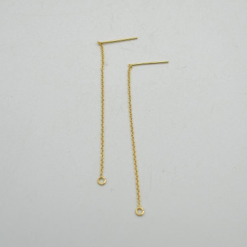 14K Gold Filled Findings - Gold Filled Threader Cable Chain Drop Earring with Open Ring - 65mm - 2 Count - Made in USA