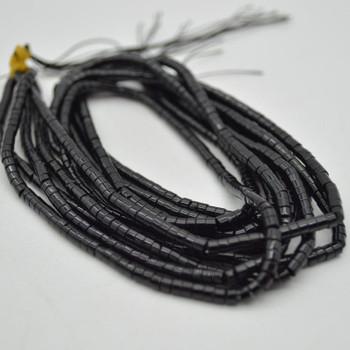 "High Quality Grade A Black Onyx Agate Semi-Precious Gemstone Flat Heishi Rondelle / Disc Beads - 3mm x 2mm - 15.5"" strand"