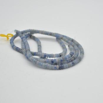 "High Quality Grade A Natural Blue Aventurine Semi-Precious Gemstone Flat Heishi Rondelle / Disc Beads - 4mm x 2mm - 15.5"" strand"