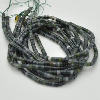 "High Quality Grade A Natural Dark Moss Agate Semi-Precious Gemstone Flat Heishi Rondelle / Disc Beads - 3mm x 2mm - 15.5"" strand"