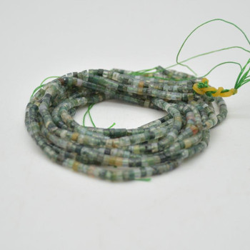 "High Quality Grade A Natural Moss Agate Semi-Precious Gemstone Flat Heishi Rondelle / Disc Beads - 3mm x 2mm - 15.5"" strand"
