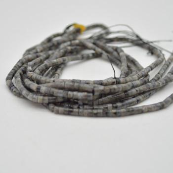 "High Quality Grade A Natural Larvikite Semi-Precious Gemstone Flat Heishi Rondelle / Disc Beads - 3mm x 2mm - 15.5"" strand"