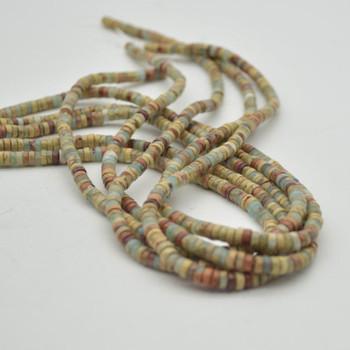 "High Quality Grade A Natural Impression Jasper Semi-Precious Gemstone Flat Heishi Rondelle / Disc Beads - 4mm x 2mm - 15.5"" strand"