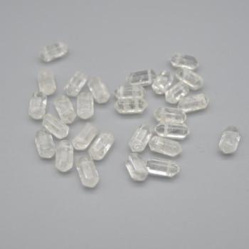 High Quality Grade A Natural Clear Quartz Semi-Precious Gemstone Double Terminated Point Pendant Beads -  1.2cm, 1.6cm - 1 or 5 count