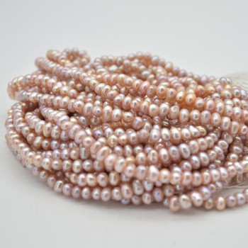 """High Quality Grade A Natural Freshwater Potato Round Pearl Beads - Pink -  4mm - 5mm -  14.5"""" strand"""