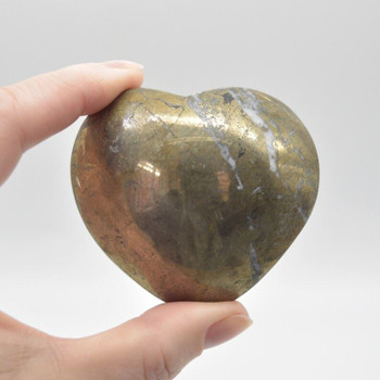 Pyrite Gemstone Heart - 230 grams - 5.5cm x 6.5cm x 3cm - 1 count