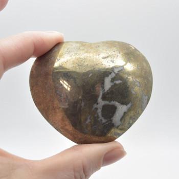 Pyrite Gemstone Heart - 228 grams - 5.5cm x 6.5cm x 3cm - 1 count
