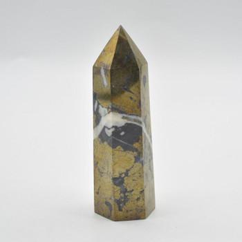 Pyrite Gemstone Point / Tower / Wand - 430 grams - 12cm x 4cm x 4cm - 1 count