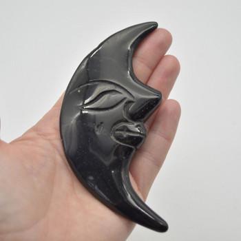 Natural Black Obsidian Carved Moon Face - 75 grams - 11.5cm x 5cm x 1.1cm - 1 count