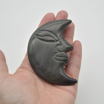 Natural Rainbow Obsidian Carved Moon Face - 76 grams - 8cm x 5.5cm x 1cm - 1 count