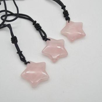 Natural Rose Quartz Semi-precious Gemstone Star Pendant - 3cm - 1 count