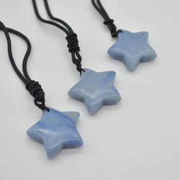 Natural Blue Aventurine Semi-precious Gemstone Star Pendant - 3cm - 1 count