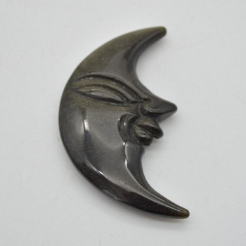 Natural Golden Sheen Obsidian Gemstone Carving Moon with Face - 38g - 8cm x 4cm x 1cm - 1 count