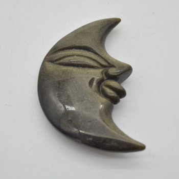 Natural Golden Sheen Obsidian Gemstone Carving Moon with Face - 47g - 7.5cm x 4.5cm x 1.1cm - 1 count