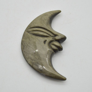 Natural Golden Sheen Obsidian Gemstone Carving Moon with Face - 53g - 9cm x 5cm x 1.1cm - 1 count