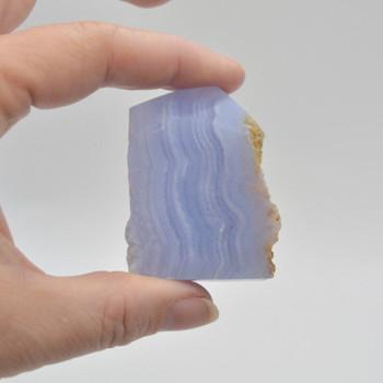 Natural Blue Lace Agate Semi-precious Gemstone Slice - 1 count - 5cm x 3.8cm x 1.6cm - 64 grams - #04