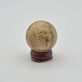 Natural Picture Jasper Semi-Precious Gemstone Sphere Ball - 56 grams - 3cm- 3.5cm - 1 Count - #03