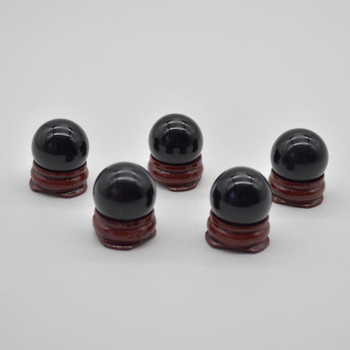 Natural Black Obsidian Semi-precious Gemstone Sphere Ball  - 1 Count - 2cm - 2.5cm