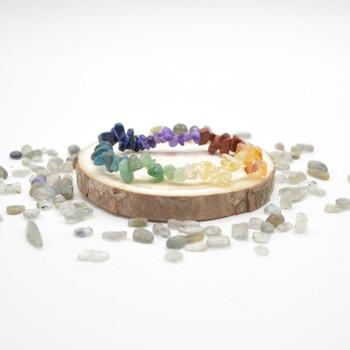 7 Chakra Gemstone Chip Bracelet / Beads Sample strand - Set 02
