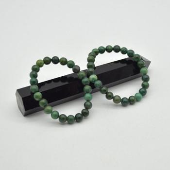 "African Jade Gemstone Round Bead Sample strand / Bracelet- 8mm - 7.5"""