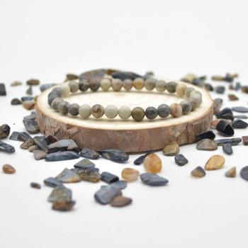 "Picasso Jasper Gemstone Round Beads Sample strand / Bracelet - 6mm - 7.5"""